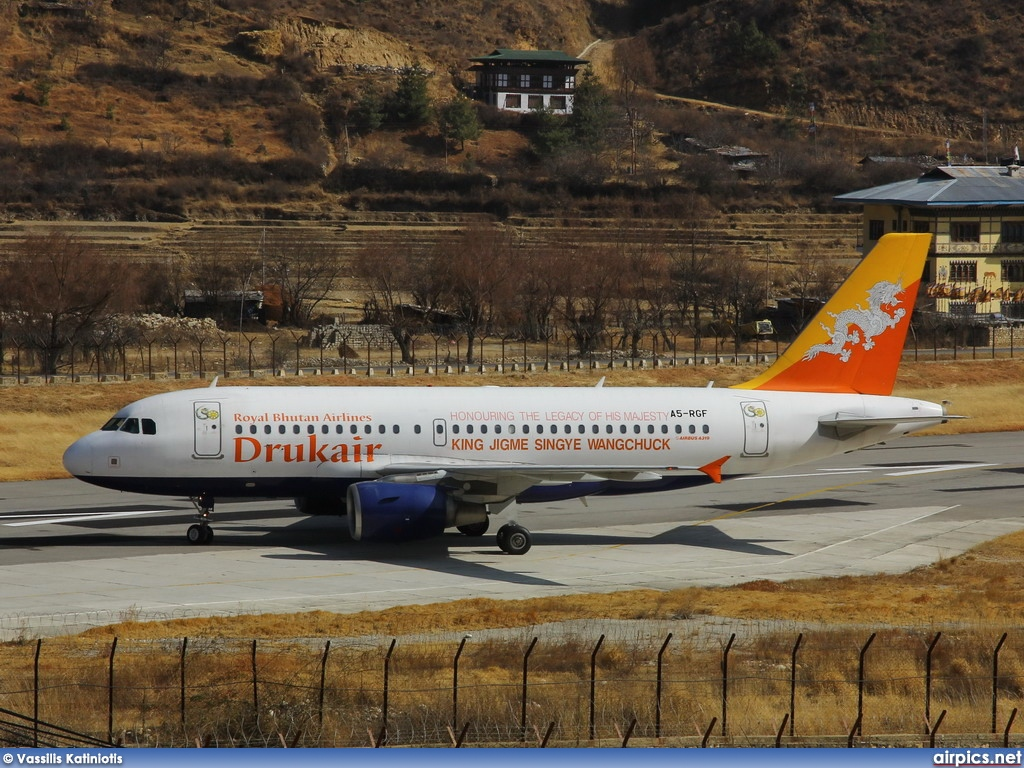 A5-RGF, Airbus A319-100, Druk Air - Royal Bhutan Airlines