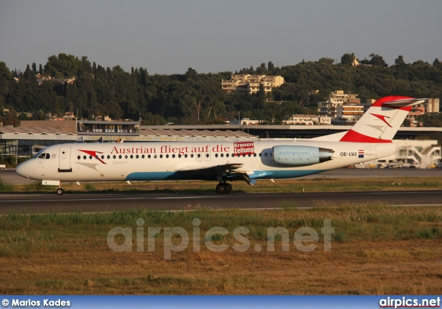 OE-LVJ, Fokker F100, Austrian Arrows (Tyrolean Airways)