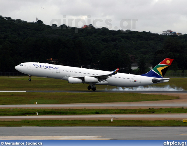 ZS-SXF, Airbus A340-300, South African Airways